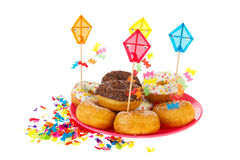 Birthday donuts with colorful glaze Stock Photography
