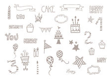 Birthday doodle clip art Stock Images