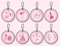 Birthday doodle gift tags stock illustration