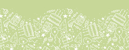 Birthday doodle horizontal seamless pattern Stock Photos