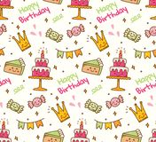 Birthday doodle seamless background with kawaii birthday stuff stock illustration