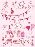 Birthday doodles Royalty Free Stock Photo