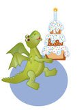Birthday  draco. Congratulating on a birthday with a merry dragon and cake Stock Images