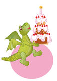Birthday draco-girl. Congratulating on a birthday with a merry dragon and cake Stock Image