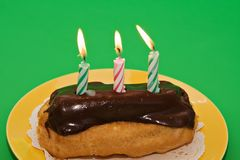 Birthday Eclair Pastry Stock Images