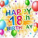 Birthday Eighteenth Indicates Celebrating 18 And Celebration. Eighteenth Birthday Representing Happiness Greeting And Celebration royalty free illustration