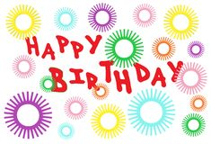 A birthday electronic greeting card with star sparkles and red fonts. A computer generated illustration image of a birthday electronic greeting card with star stock illustration