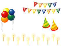 Birthday Elements. A set of birthday elements which includes ballons, candles, birthday hats and more Stock Photography