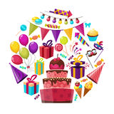 Birthday Elements Round Composition. Birthday party isolated cartoon symbols round composition with cake presents balloons and garland on blank background vector Stock Image