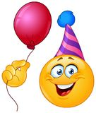 Birthday emoticon with balloon Royalty Free Stock Photo