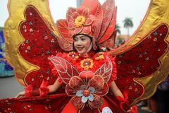 Surabaya indonesia. May 28, 2016. The flower parade commemorates the anniversary of the city of Surabaya. At the birthday event Surabaya held a flower parade stock photos