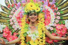 Surabaya indonesia. May 28, 2016. The flower parade commemorates the anniversary of the city of Surabaya. At the birthday event Surabaya held a flower parade stock photo