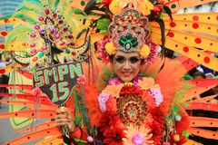 Surabaya indonesia. May 28, 2016. The flower parade commemorates the anniversary of the city of Surabaya. At the birthday event Surabaya held a flower parade royalty free stock photo