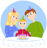 Birthday in a family. Cartoon vector illustration Royalty Free Stock Photos