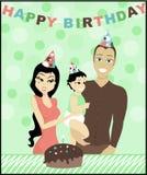 Birthday Family. Illustration of family celebrating babies first birthday vector illustration
