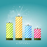 Birthday Firecrackers. Vector illustration of several colorful birthday candles, or firecrackers, or dynamites, you  name it Royalty Free Stock Photos