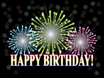 Birthday_fireworks. Colorful fireworks, the text happy birthday on a black background royalty free illustration