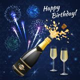 Birthday Fireworks Composition Background. Fireworks composition of congratulatory inscription with images of champagne glasses bottle and colourful fireworks on Stock Images