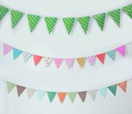Birthday flag banner chain. Portrait of birthday flag banner chain decoration Royalty Free Stock Images
