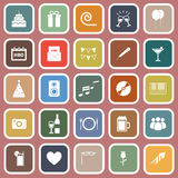 Birthday flat icons on pink backgound Stock Images