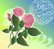Birthday flover card. Pink roses vector. Stock Image