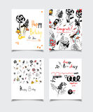 Birthday flower card. Vector card collection with abstract design. Flower patterns for posters, greeting cards, flyers, banners, web designs. Anniversary stock illustration