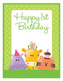birthday flyer/poster template. 1st birthday flyer/poster template with safari animals Royalty Free Stock Photo