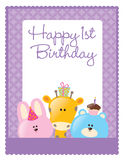birthday flyer/poster template. 1st birthday flyer/poster template with safari animals Royalty Free Stock Photography