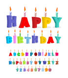 Birthday font. letters and candles. Celebratory alphabet. holida Stock Photography