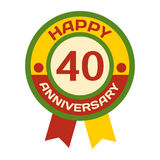 Birthday fortieth badge banner design Stock Photography