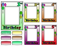 Birthday Frame Border Set 1-5 Royalty Free Stock Photography