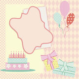 Birthday frame with cake, balloons and present Royalty Free Stock Photography