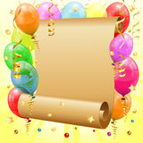 Birthday Frame. With 3D Transparent Birthday Balloons, Scroll Paper, Confetti and Streamer, vector Stock Image