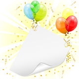Birthday Frame. With 3D Transparent Birthday Balloons, Scroll Paper, Confetti and Streamer, vector Stock Photo