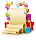 Birthday Frame. Festive greetings. Congratulations on the birthday. Balloons. Parchment. Holiday gifts Royalty Free Stock Photo
