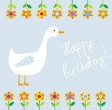 Birthday funny card for child with flowers Stock Photos