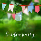 Birthday garden party or Brazilian june party card. Decoration with flags and jar. Vector illustration with modern Royalty Free Stock Image
