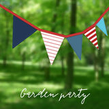Birthday garden party. Brazilian june party. Festa junina. Party decoration with flags. Modern blurred background. Birthday garden party. Brazilian june party Royalty Free Stock Images