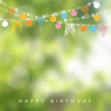 Birthday garden party or Brazilian june party, illustration with garland of lights, party flags, blurred background