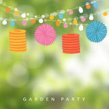 Birthday garden party or Brazilian june party,  illustration with string of lights, paper lanterns,  blurred background. Birthday garden party or Brazilian june Royalty Free Stock Images