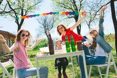 Birthday garden party during summer sunny day. Birthday garden party during summer sunny day - backyard picnic royalty free stock photo