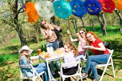 Birthday garden party during summer sunny day - backyard picnic stock images