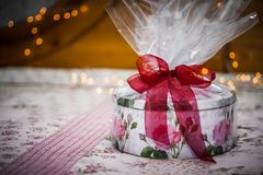 Birthday Gift. Ornament and holiday decoration with gift box Royalty Free Stock Photos