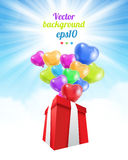Birthday gift with baloons Stock Images