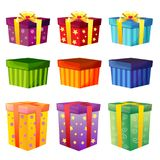 Birthday gift box collection set. Additional file in eps 10 Stock Image