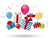 Birthday gift box with confetti. Illustration of Birthday gift box with confetti Royalty Free Stock Photo