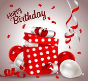Birthday gift box with paper card. Vector illustration festive background birthday with gifts and balloons with confetti Royalty Free Stock Photos