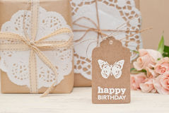 Birthday. Gift box and tag Royalty Free Stock Images