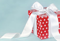 Birthday gift box with white bow Royalty Free Stock Photography
