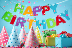 Birthday gift boxes with paper confetti Royalty Free Stock Photo